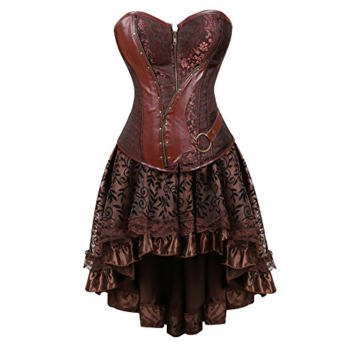 frawirshau Women's Steampunk Costume Corset Dress Halloween Costumes Steam Punk Gothic Overbust Corset and Skirt Set Brown 2XL -