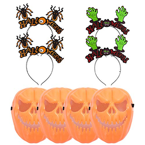 8pcs Halloween Headbands + Devil Face Masks Scary Kids Costume Party Decoration
