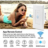 GPCT Smart WiFi Switch In-Wall Light Switch APP Remote Control Touch Panel Work with Amazon Alexa Google Home Timing Schedules Smart Scene No Hub Required 15A Overload Protection