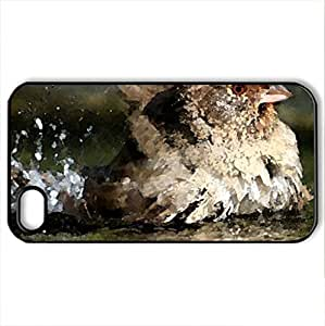 Bather sparrow - Case Cover for iPhone 4 and 4s (Birds Series, Watercolor style, Black)