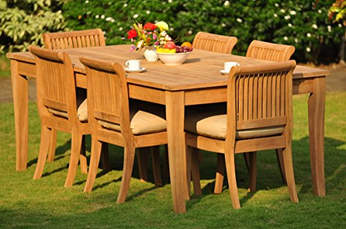 New 7 Pc Luxurious Grade A Teak Dining Set Very Large Atnas 122