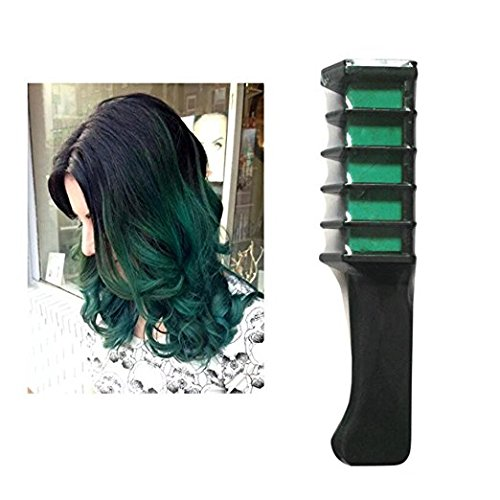 Hair Dye Brush, Elevin(TM) Disposable Temporary Beard Hair Chalk Dye Powder With Comb Salon Hair Mascara Crayons DIY Cosplay Makeup Props Set (Green) -