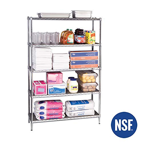 (Seville Classics UltraDurable Commercial-Grade 5-Tier NSF-Certified Steel Wire Shelving with Wheels, 48