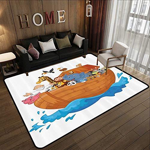 (Truck mats,Noahs Ark Decor Collection,Noahs Ark Cartoon Mammals Smile Transport Only Ship Artwork,Peru Blue White Pink 78.7