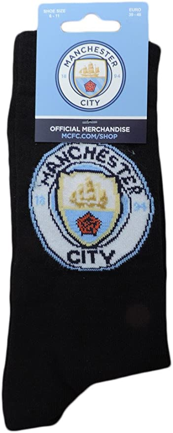 Manchester City Trainer Socks Size 6-11 Football Official Licensed Novelty Gift