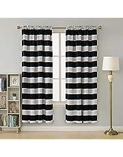 Deconovo Striped Blackout Curtains Rod Pocket Room Darkening Curtains for Kids Room