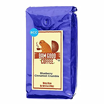 Dam Good Coffee – NEW FLAVOR Blueberry Cinnamon Crumble - Whole Bean - 12 Oz - Blueberry Pie Flavor - No Sugar Added