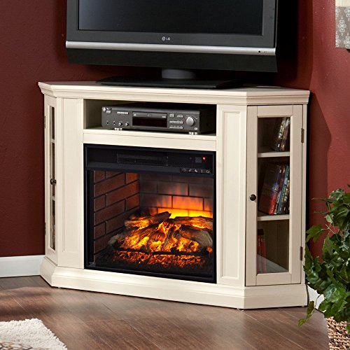 Southern Enterprises Claremont Corner Fireplace TV Stand in Ivory (Places To Buy Tv Stands)