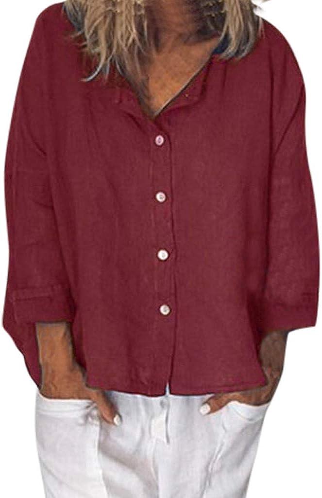 MOTOCO Camisa de Mujer Camiseta de Manga Corta de Gran tamaño Camiseta de Lino con Botones de Color sólido Camiseta con Cuello en v Camiseta de Manga Corta(3XL, Rojo): Amazon.es: Ropa y