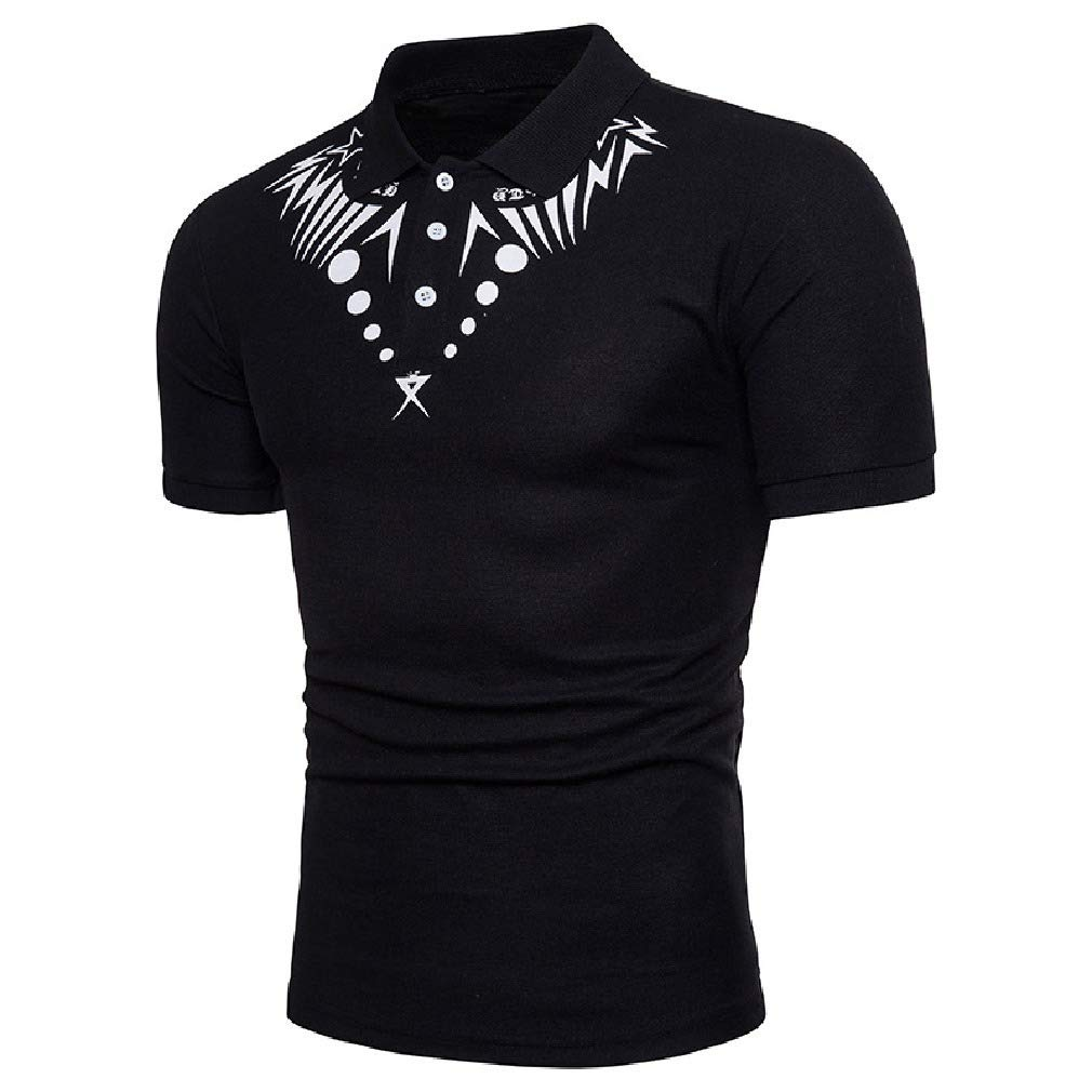 Zimaes-Men Regular Fit Polo-Collar Loose-Fit Printing Blouse T-Shirt Tops
