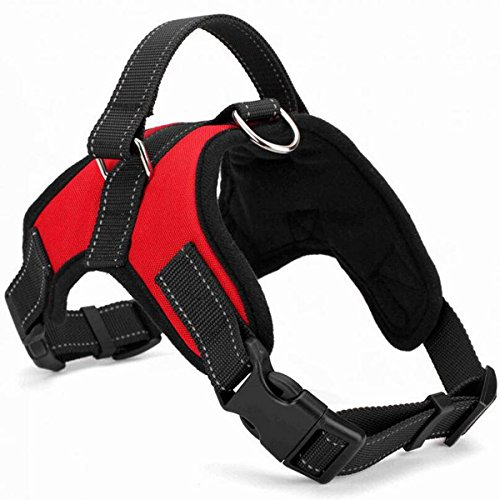 TraderPlus Dog Safety Vest Harness, Pet Dog Adjustable Walk Out Sports Travel Vest Collar Hand Strap with Car Seat Belt Lead Clip - No Pull, Easy On/Off (Large, Red) (Sports Vest Harness)