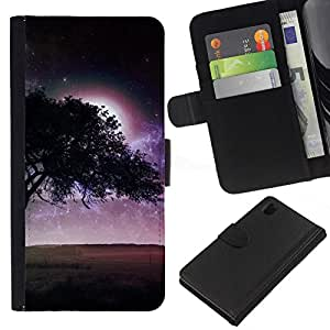 All Phone Most Case / Oferta Especial Cáscara Funda de cuero Monedero Cubierta de proteccion Caso / Wallet Case for Sony Xperia Z1 L39 // Purple Moon Tree