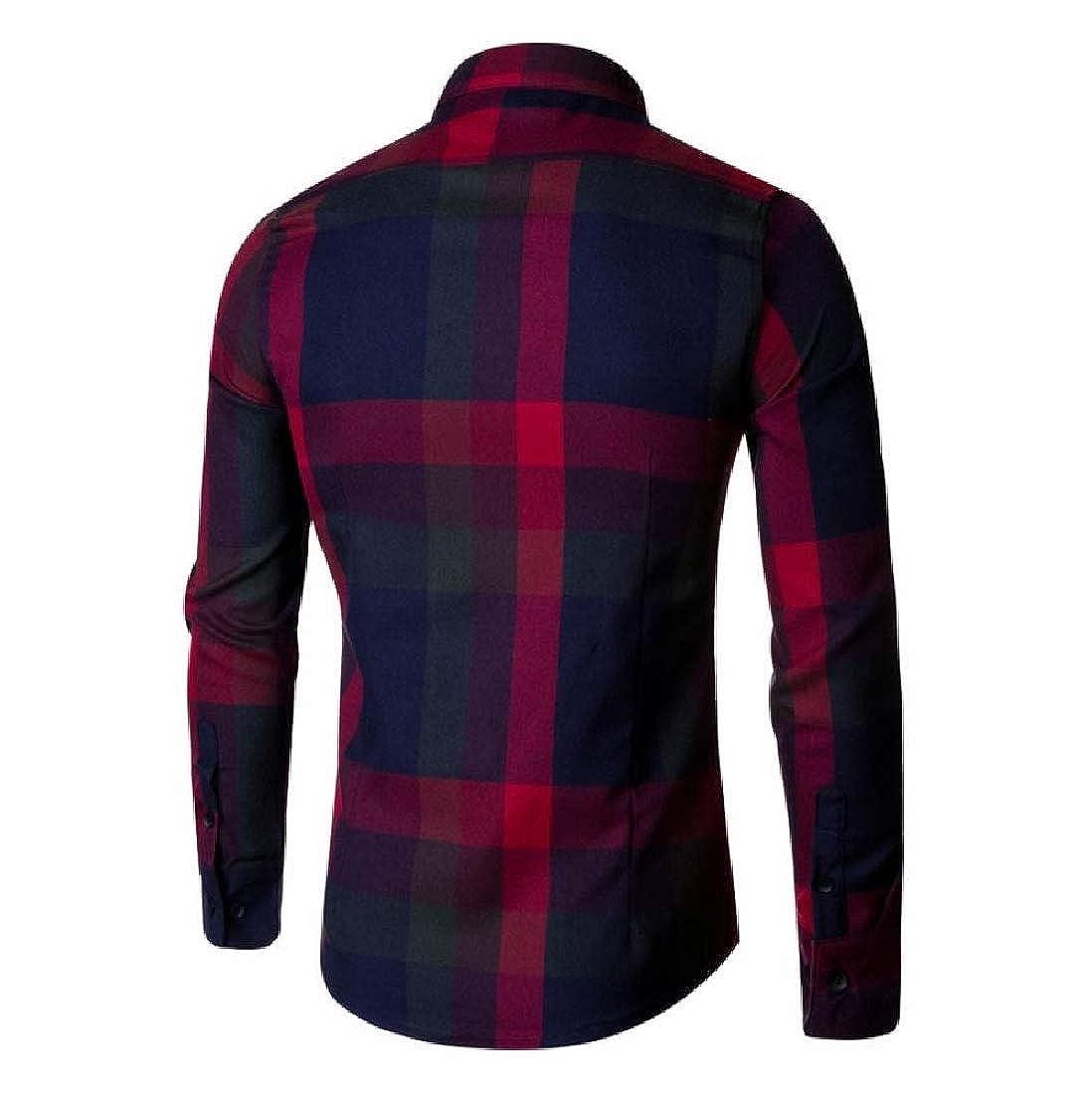 YUNY Men Tops Button-Down-Shirts Lattice Detail Comfortable Shirt Red 2XL