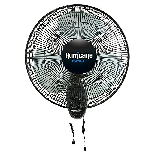 Hurricane Wall Mount Fan - 16 Inch | Super High Output | Wall Fan with 90 Degree Oscillation, 3 Speed Settings, Adjustable Tilt - ETL Listed, Black