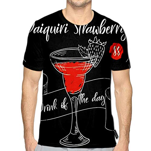 3D Printed T-Shirts Dring Poster Cocktail Daiquiri Strawberry for Restaurant and Cafe Short Sleeve Tops Tees d