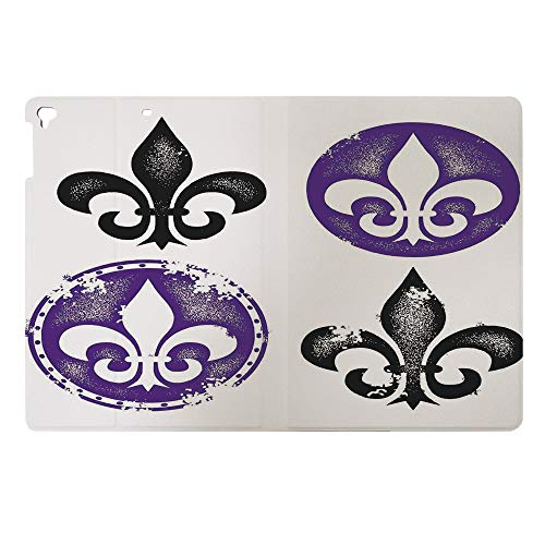 Case for iPad 2017 9.7 inch Anti Skid TPU Tablet Patterned Protective Cover,Fleur De Lis Designs Silhouettes Vintage Artistic