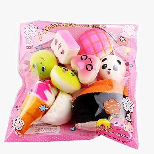 - Squishies Jumbo Slow Rising Kawaii 10Pcs Medium Mini Bread Toys Key Scented Squeeze Stress Relief Toys