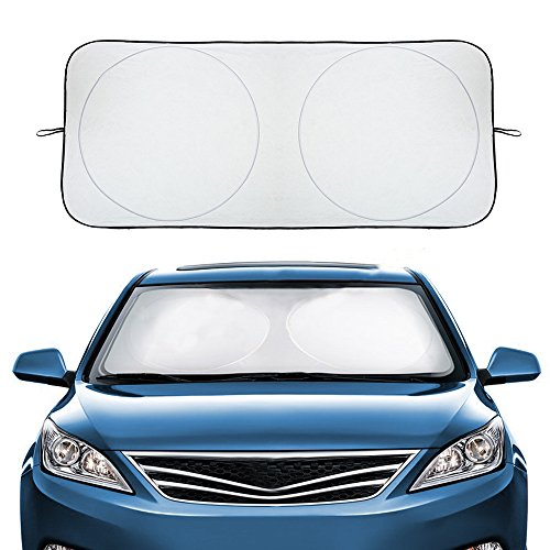AUDEW Car Windshield Sunshade Windshield Cover to Keep Vehicle Cool & Damage Free, Car Sun Shade Sun Visor UV Ray Reflector for Full-Size Vehicles (59 x 28 Inches)