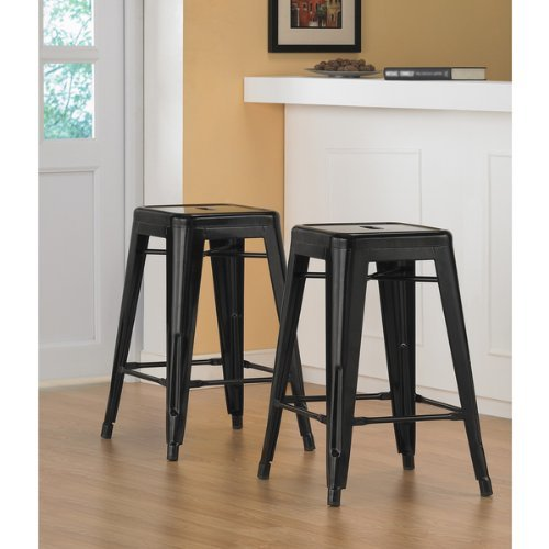 (Black 24-inch Metal Counter Bar Stools Stackable (Set of 2) )
