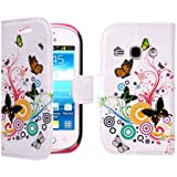Juju Village Rainbow Butterfly Swirl PU Leather Wallet Case Cover Skin For Samsung Galaxy Fame S6810 With Screen Protector