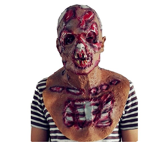 Resident Evil, Rotten Zombie Latex Mask, Thriller Halloween Horror Mask, Carnival Costume Accessories (Blood)