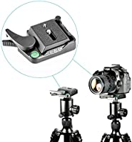 """Neewer® Black Aluminum Alloy Quick Release QR Plate Adapter with 1/4""""-3/8"""" Screw and Bubble Lever for DSLR Camera Tripod..."""