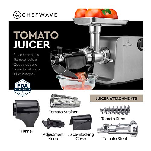 ChefWave Electric Meat Grinder - FDA Approved - Stainless Steel Heavy Duty 1800W Max 3-Speed - 4 Grinding Plates, 3 Cutting Blades, Vegetable Slicer, Tomato Juicer, Sausage Stuffer Tubes, Kibbeh Kit