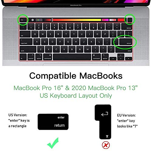 """OJOS Premium Ultra Thin Keyboard Cover Skin Compatible 2020 MacBook Pro 13 inch and MacBook Pro 16"""" (Model A2251 A2289 A2141) Clear"""