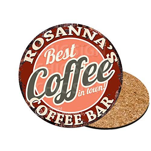 ROSANNA'S Best Coffee in Town Coffee Bar 6 of Set Custom Personalized Coasters Rustic Shabby Vintage Style Retro Kitchen Bar Pub Coffee Shop Housewarming Gift Wedding Gift Ideas