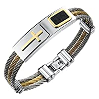 Men's Stainless Steel Religious Cross Twisted Cable Bracelet