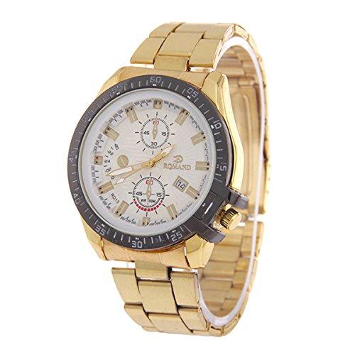 Genießen Armbanduhren Automatik Chronograph Uhr Edelstahl Uhrarmband Business Watch Golden (3)
