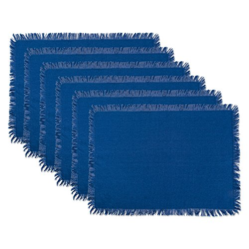 DII Woven Cotton Placemat with Decorative Fringe for Spring, Summer, Outdoor Parties, Family Dinner, Weddings and Everyday Use (13x19) Navy, Set of (6 Woven Fabric)