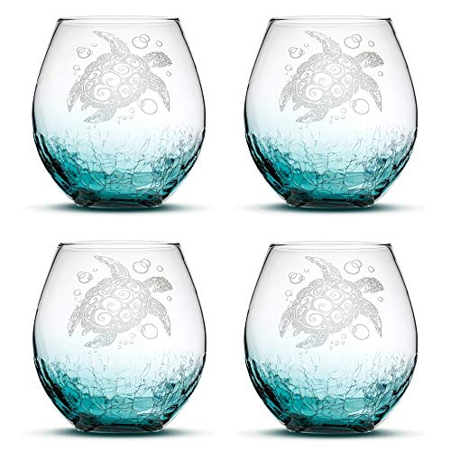 Set of 4, Sea Turtle Stemless Wine Glasses, Crackle Teal, Made in USA, Tribal Design, Hand Etched Gifts, Sand Carved by Integrity Bottles
