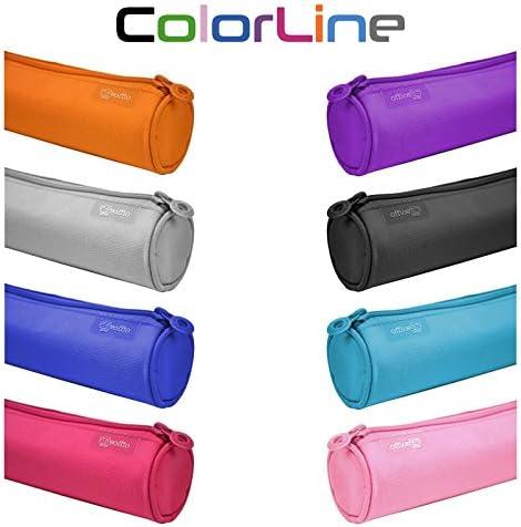 Colorline 59511 - Portatodo Redondo, Estuche Multiuso para Viaje, Material Escolar, Neceser y Accesorios. Color Azul Claro, Medidas 22 x 6 x 6 cm: Amazon.es: Oficina y papelería
