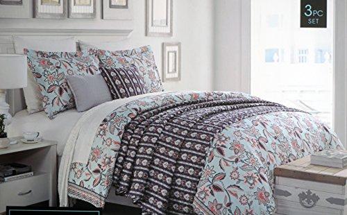 Delicate Cynthia Rowley Bedding 3 Piece Duvet Cover Set Jacobean Floral  Pattern Pink White Dark Blue