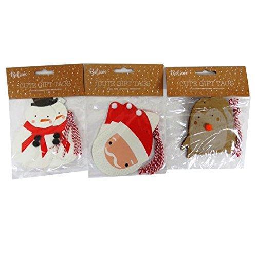 Carino grandi etichette regalo di Natale con decorazioni aggiuntive–Confezione da 15, Robin, Babbo Natale e pupazzo di neve ITP
