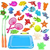 Fishing Toy,Baby Bath Toy 30 Piece Magnetic Net Fishing Game Fishing Learning Education Play Set Outdoor Fun Best Gift for Children (colorful)