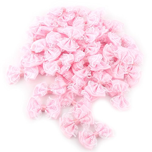 Bow Appliques, 100pcs Mini Bow Tie Shaped Lace Flowers Wedding Ornament Appliques DIY Embellishment Craft Artificial Decoration (Pink) ()