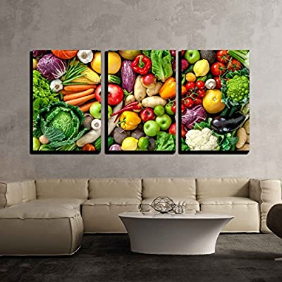 Assortment of Fresh Fruits and Vegetables x3 Panels, Made With Top Quality, Stunning Piece
