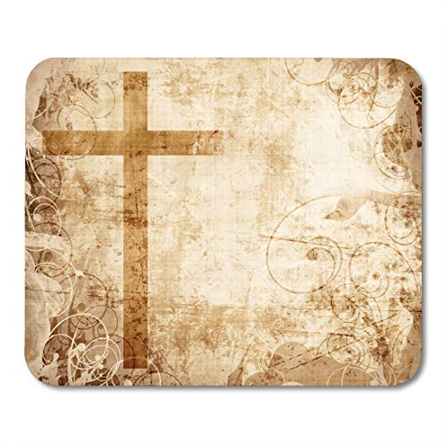 Boszina Mouse Pads Bible Religious Christianity Representation with The Symbol of Cross on Parchment Christian Jesus Mouse Pad for notebooks,Desktop Computers mats 9.5