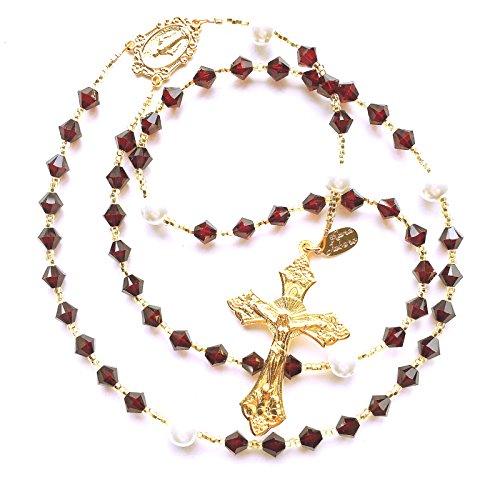 (Rana Jabero Gold Garnet Deep Red (January Birthstone) Swarovski Crystal and Glass Pearl Rosary)