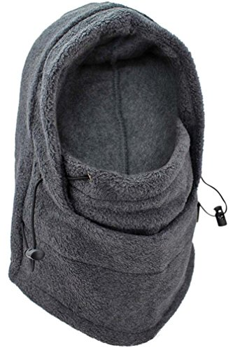 Luxury Divas Charcoal Gray Snood Hat Ski Mask With Drawstring