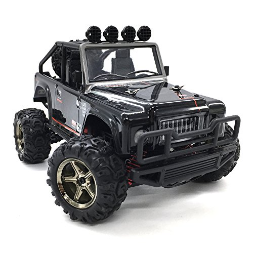 KELIWOW 1:22 Scale 4WD RC Jeep 25Mph (40km/h) High Speed Off-road RC Truck 2.4GHz Remote Control Electric RC Car with Independent Suspension and LED Lights RTR (Brave Black)