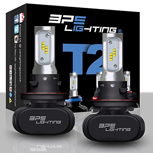 BPS Lighting T2 LED Headlight Bulbs Conversion Kit - H13 9008 50W 8000 Lumen 6000K 6500K - Cool White - Super Bright - Car and Truck - High and Low Beam - All-in One - Plug and Play