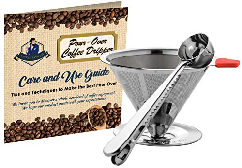 Wicked Java Joe 2 Cup Pour Over Coffee Dripper Makes Amazing Barista Quality Brew. Paperless, Reusable High Grade Stainless Steel Coffee Filter w/Bonus Coffee Scoop (Red) Review