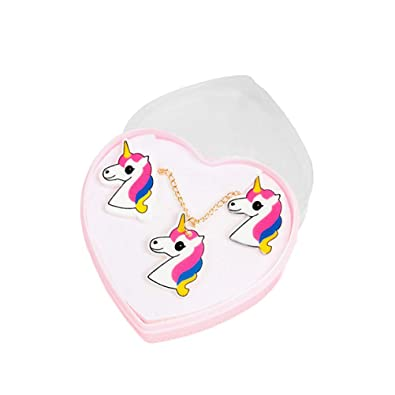 3f59557ad27f FENICAL Conjunto de aretes de Collar de Unicornio Juego de aretes de  animalitos de Dibujos Animados