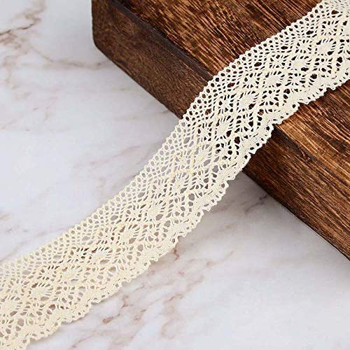 (VU100 Cotton Lace Edge Trim Ribbon 1-1/4 Inch for Sewing, Crochet Vintage Lace Ribbon Beige, for DIY Crafts Gift Wrapping Card Making(3 Yards))