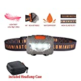 Headlamp Flashlight with Carrying Case, Bright COB-LED Head Lamp, 3-Mode Running Headlamp, Waterproof Headlight for Adults,Kids,Camping,Night Jogging,Hiking,Fishing,Reading,1.6oz/48g(NO AAA Battery)