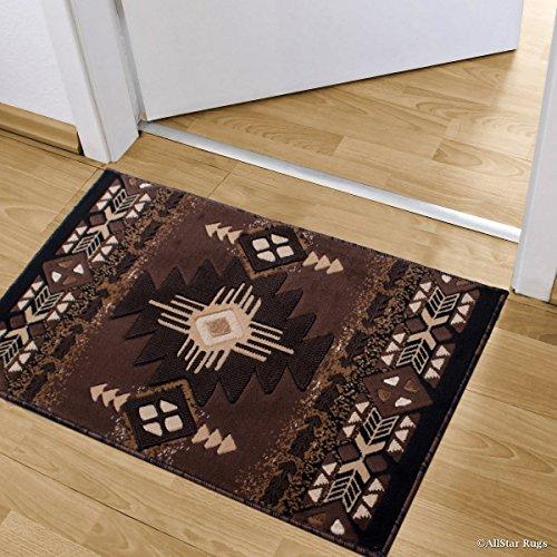 3' Drop Shot - Allstar Chocolate Doormat Accent Rug Woven High Density Double Shot Drop-Stitch Carving (2' 0