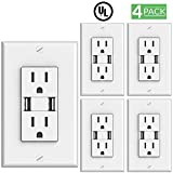 Sunco Lighting 4 PACK - UL Listed- High Speed 2 USB Port Charger and Duplex Receptacle 15-Amp, 3.1A Charging Capability, Tamper Resistant Outlet- Wall-plate Included - White